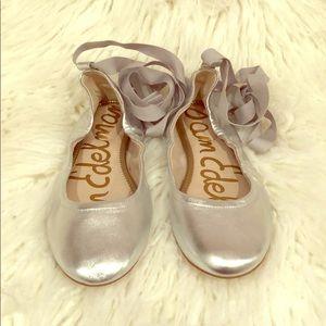New Sam Edelman Silver Lace-Up Ballet Flat- Sz 9.5